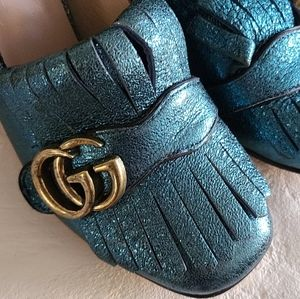 Gucci Marmont high heel shoes teal green size 37